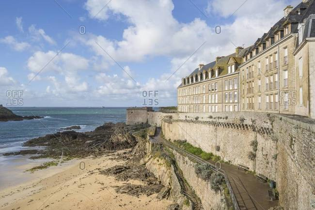 English Channel and the walled city of Saint-Malo in Brittany, France
