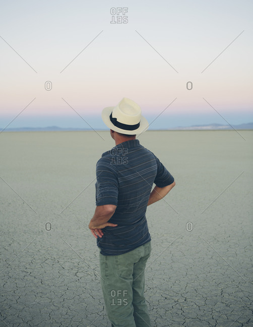 Middle aged man taking in view of play at dawn, Black Rock Desert, Nevada