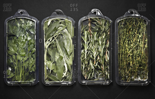 Packets of fresh herbs