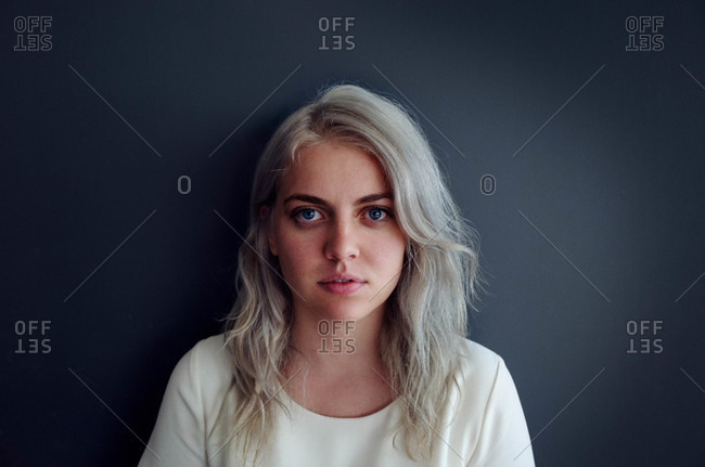 Portrait of woman with platinum hair