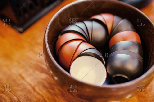 Tea bowls in a wooden bowl