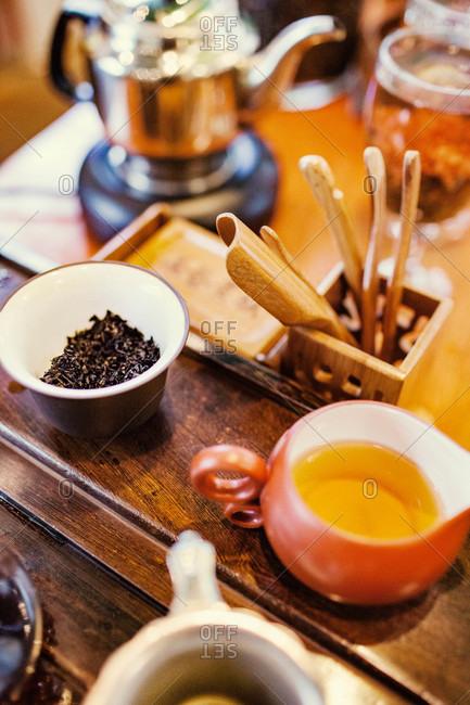 Loose leaf tea items on counter