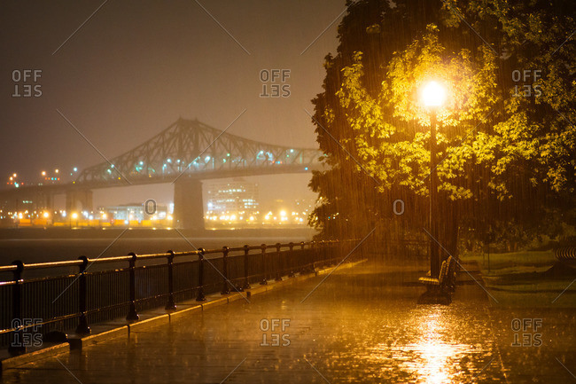 Jacques Cartier Bridge during a rain storm in Montreal, Canada