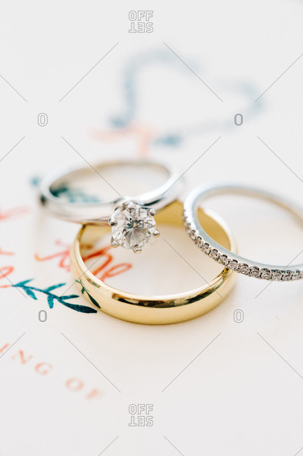 Closeup of wedding rings on invitation