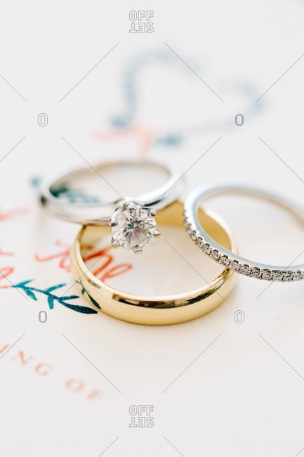 Closeup of wedding rings on invitation