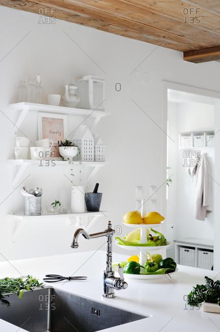 Kitchen sink and veggies in a modern kitchen