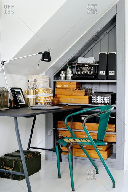 Simple desk in a cozy nook
