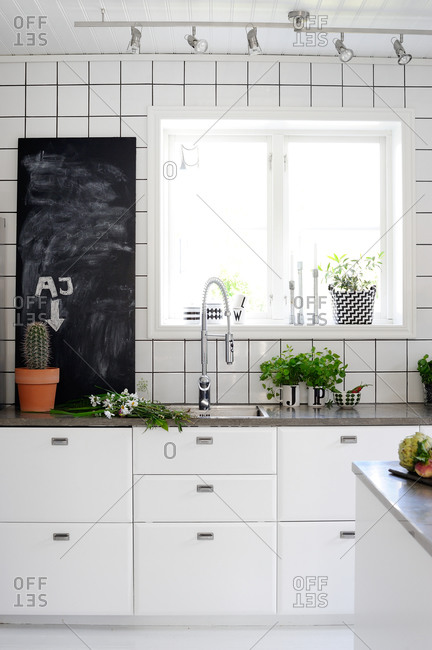 Square-tiled modern kitchen