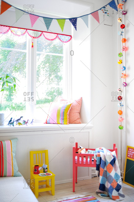 Child's room with colorful, whimsical decorations