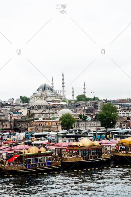 Istanbul, Turkey - May, 2014: Boats along shore near Hagia Sofia, Istanbul