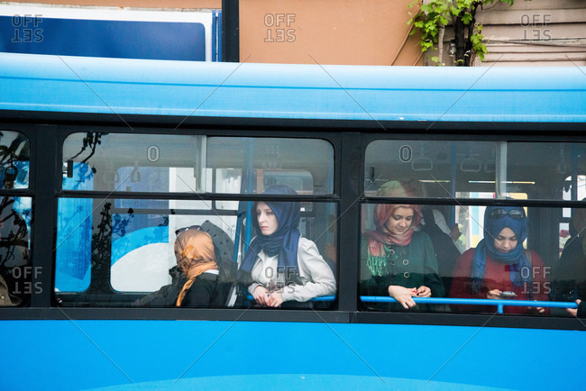 Istanbul, Turkey - May, 2014: Women on a city bus in Istanbul
