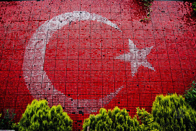 Turkish flag painted on wall in Istanbul