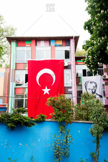Turkish flag hanging on building in Istanbul