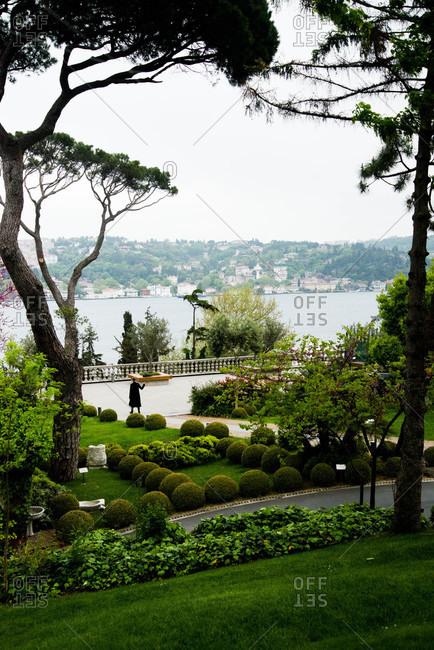 Park overlooking Bosphorus strait, Istanbul