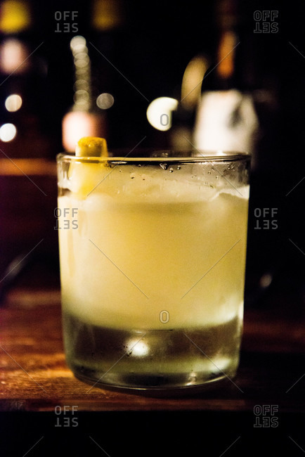 Close up of a cocktail on a bar