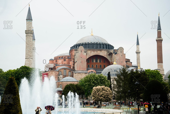 Hagia Sofia with fountains in Istanbul