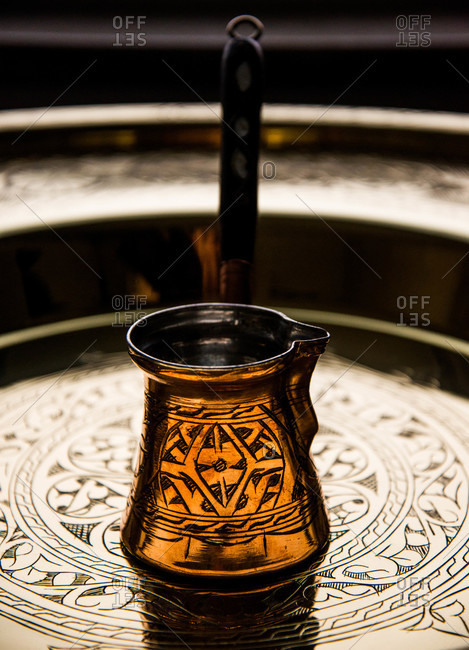 Turkish coffee pot on tray