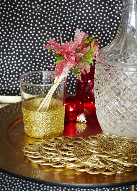 Holiday party drink coasters and stir sticks