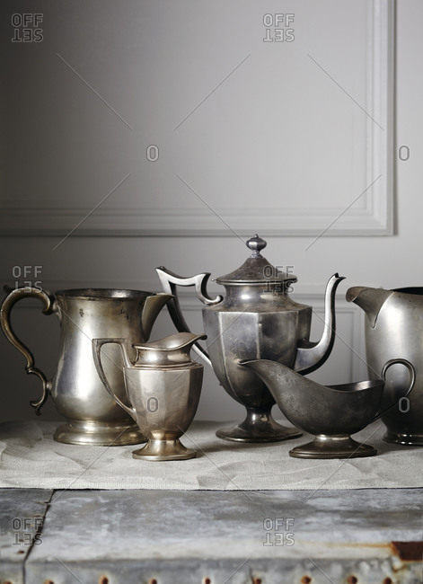 Vintage pewter containers