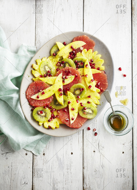 Fruit salad with grapefruit, pineapple and kiwi