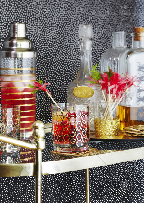 Holiday party drink cart