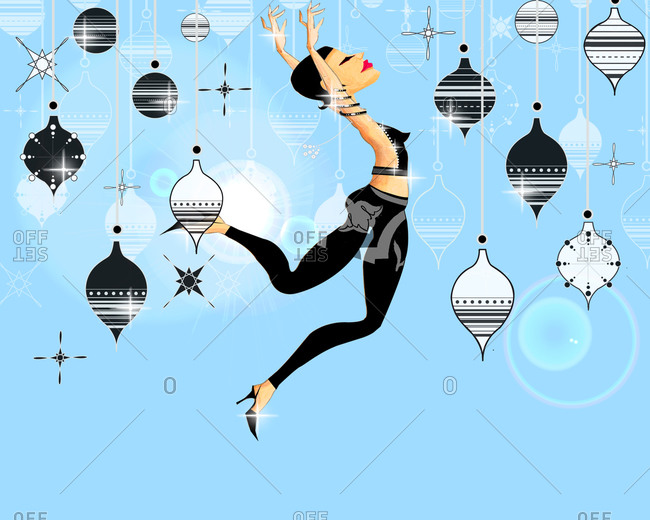 dancing woman with christmas decorations stock photo offset