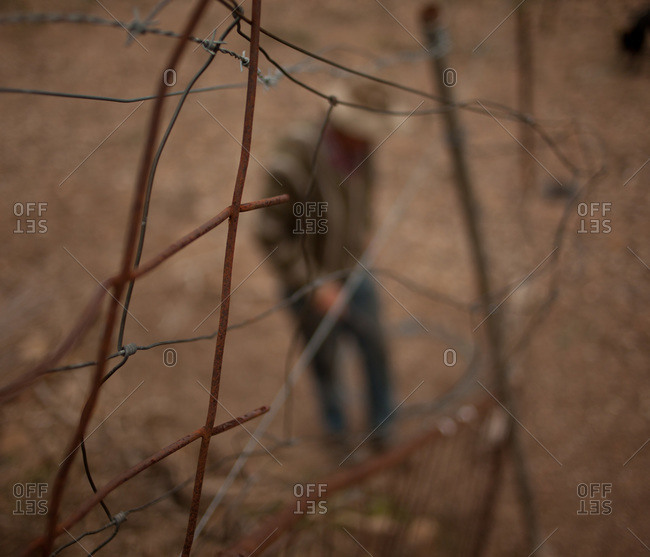 Man checking his wire fence