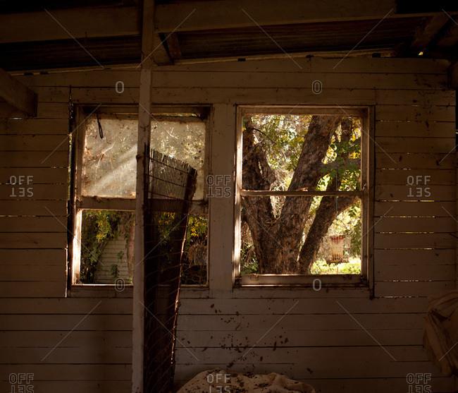 Broken windows in a run-down house