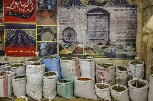 Nazareth, Israel - September 29, 2015: Bags of spices in a spice store, Nazareth, Israel.