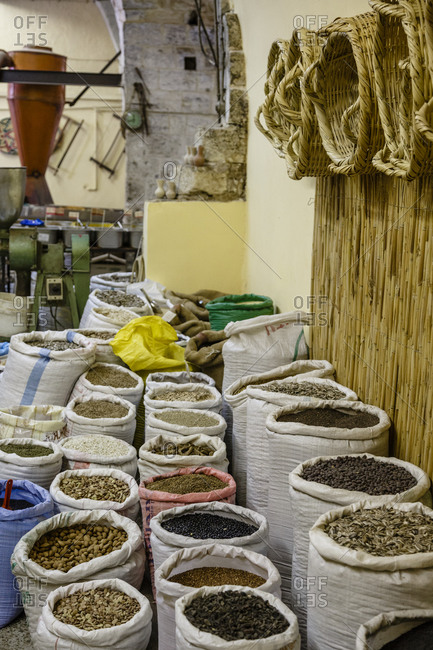 Rows of spice bags in a market in Nazareth, Israel