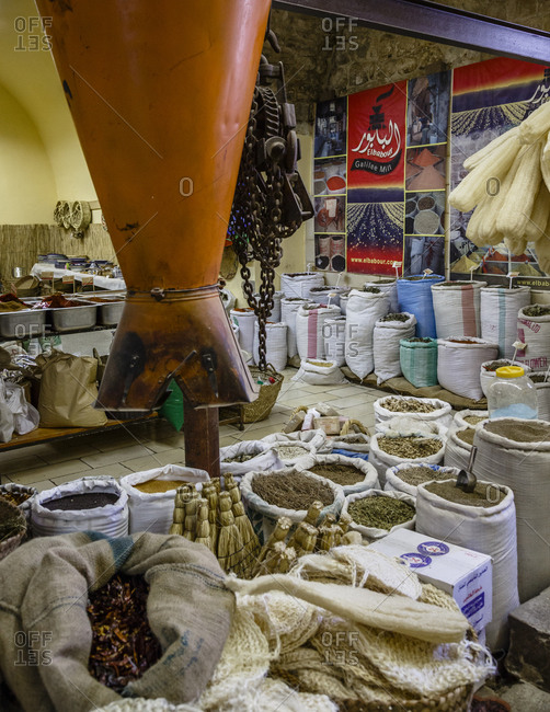 Nazareth, Israel - September 29, 2015: View of a retail spice store in Nazareth, Israel