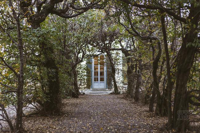 Tree lined path to Italian villa