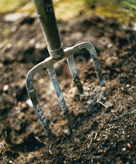 Pitchfork in soil