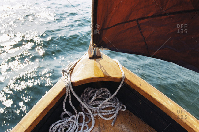 View to prow of a wooden boat