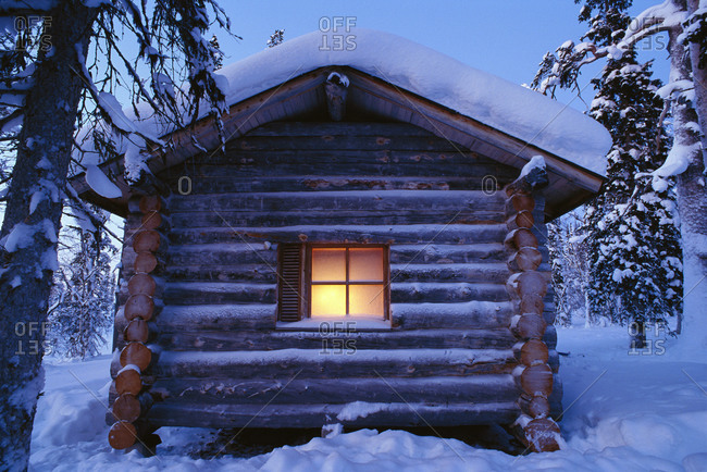 Log house in the winter