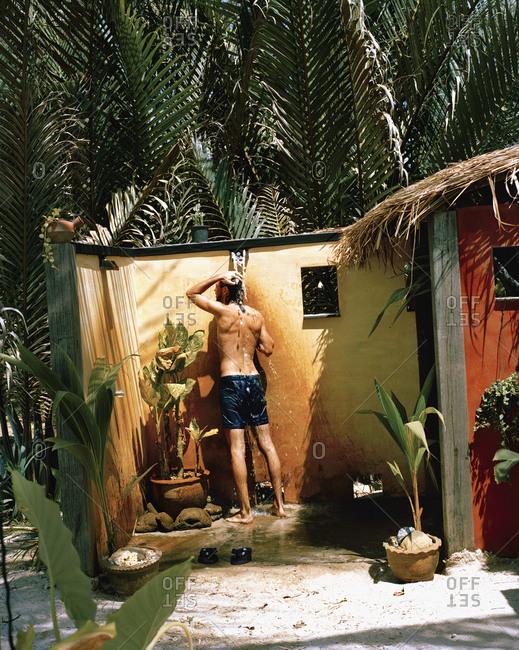 A man in a shower