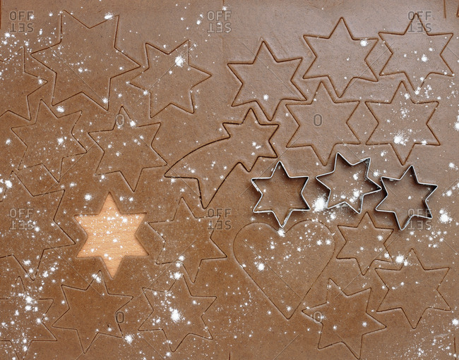 Gingerbread Dough and Star Shaped Forms