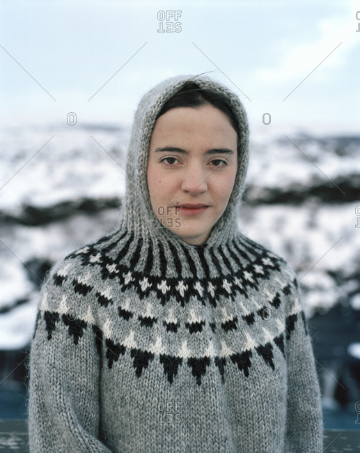 Portrait of a woman, Hraunfoss, Iceland