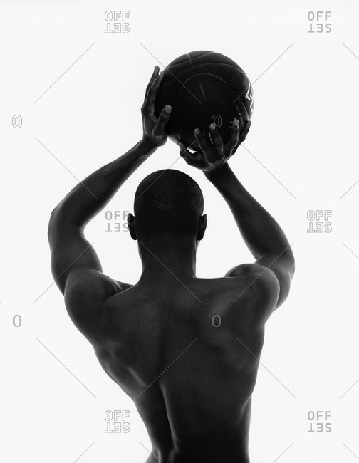 Rear view of basketball player