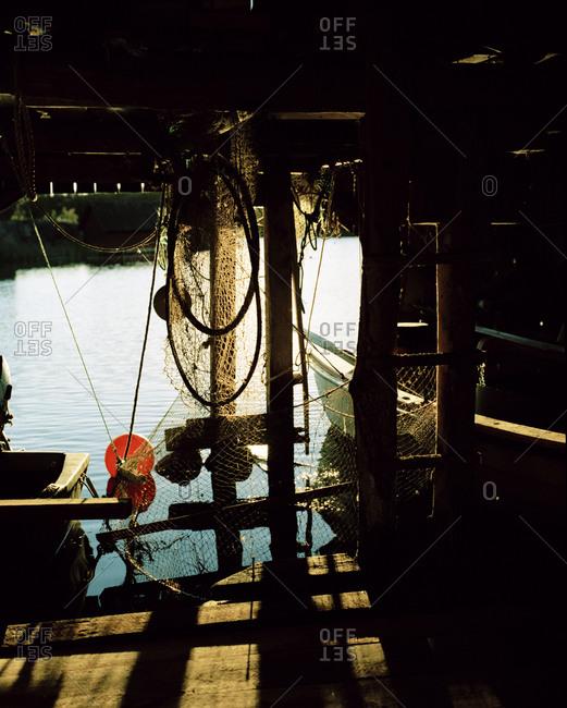 Fishing equipment in a boathouse, Gryt archipelago, Ostergotland, Sweden