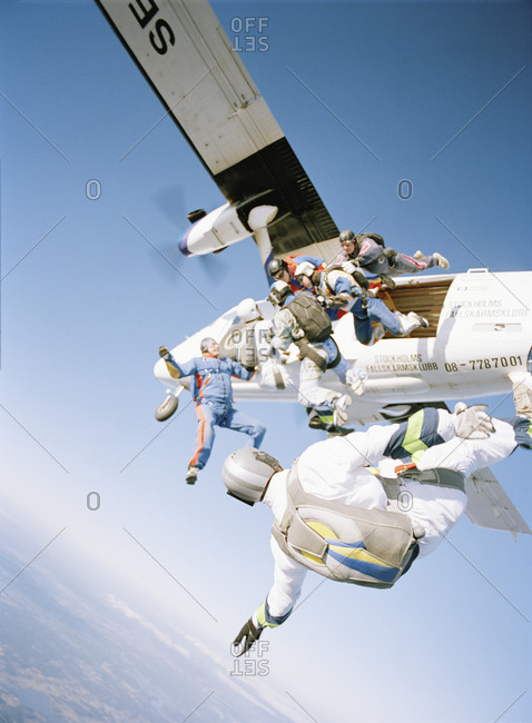 Parachute jumpers jumping off an airplane, Sweden
