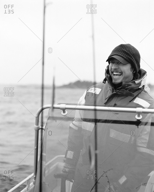 A fisherman on a boat