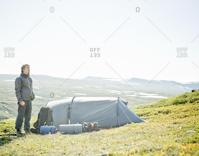 A man camping, Sarek, Lapland, Sweden