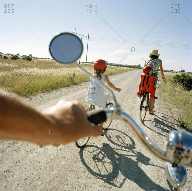 A family on a bicycle ride, Oland, Sweden