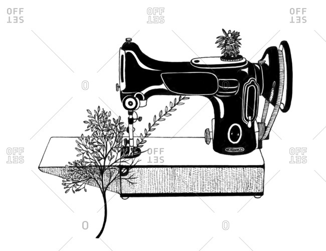 Antique sewing machine making a tree