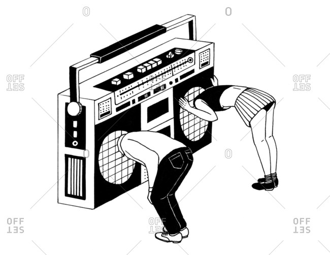 Young people with their heads inside of a retro radio