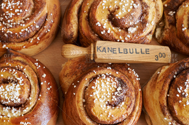 Swedish cinnamon roll pastries for sale in a cafe
