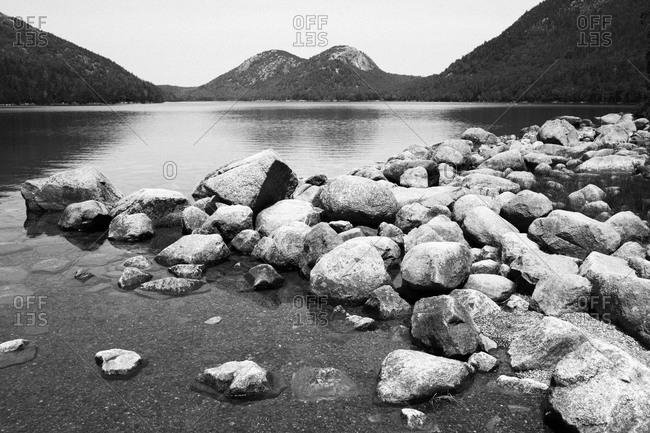 Rocks on Jordan Pond in Acadia National Park, Maine