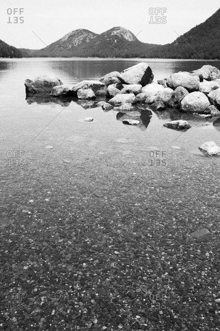 Rocky shore of Jordan Pond in Acadia National Park, Maine