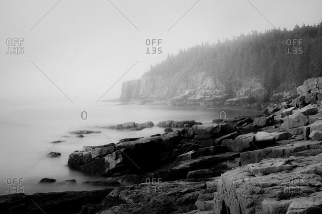Foggy coastline of Acadia National Park in Maine